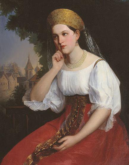 jeune-femme-pensive-par-le-peintre-russe-grigory-sedov-19c3a8me-sic3a8cle